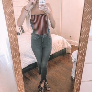 Rainbow striped tube top. Worn once!